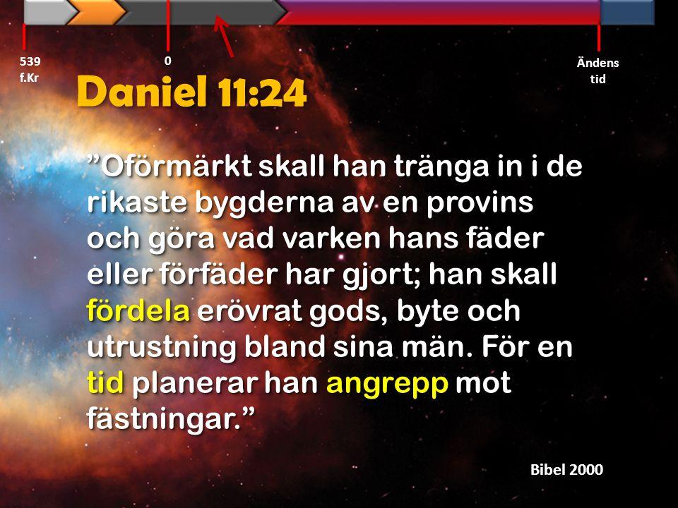 539 f.Kr Ändens tid. Daniel 11:24.