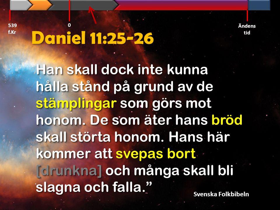 539 f.Kr Ändens tid. Daniel 11:25-26.