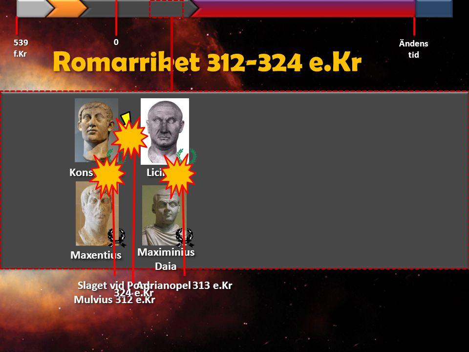 Romarriket 312-324 e.Kr Konstantin Licinius 324 e.Kr Maxentius