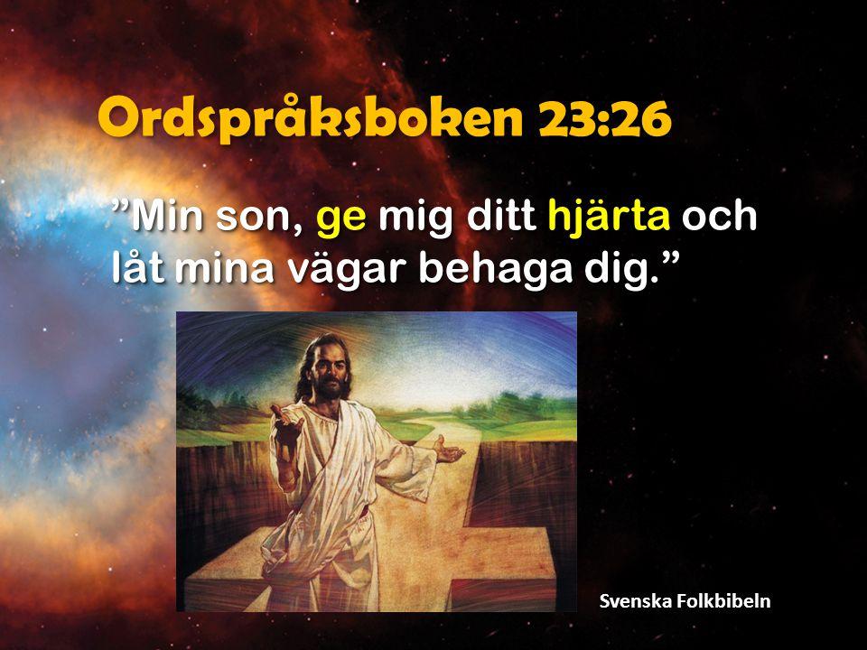 Ordspråksboken 23:26 Min son, ge mig ditt hjärta och låt mina vägar behaga dig. Svenska Folkbibeln.