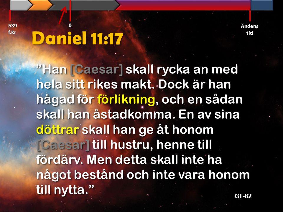 539 f.Kr Ändens tid. Daniel 11:17.