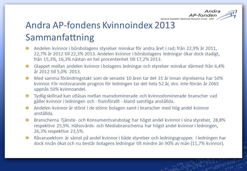 Andra AP-fondens Kvinnoindex 2013 Sammanfattning