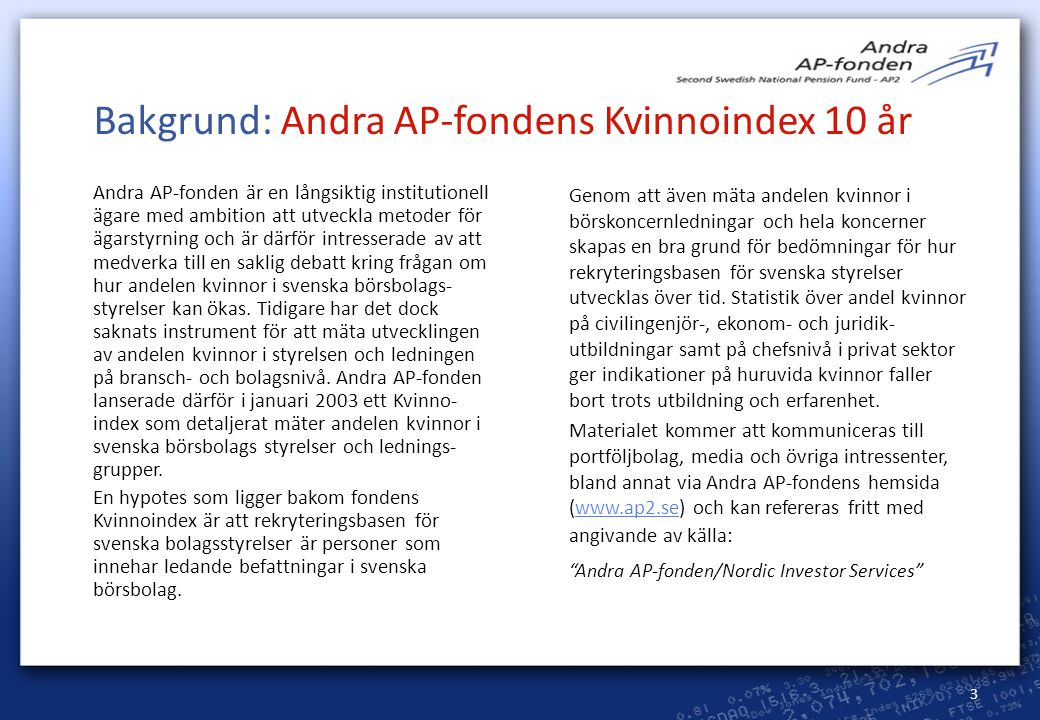 Bakgrund: Andra AP-fondens Kvinnoindex 10 år
