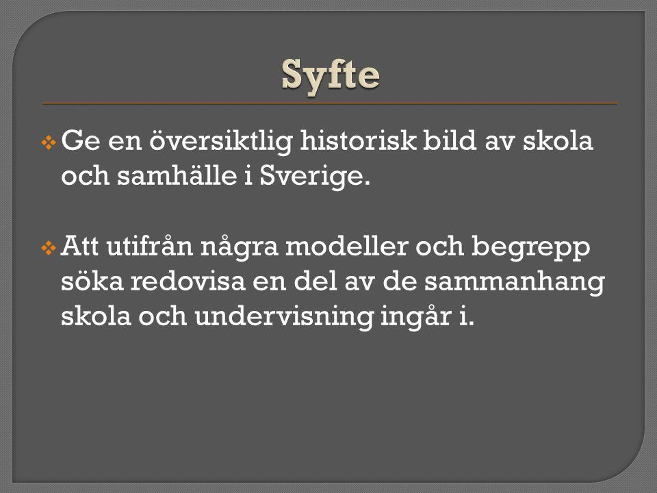 Syfte Ge en översiktlig historisk bild av skola och samhälle i Sverige.