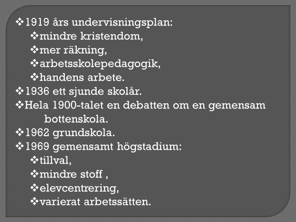 1919 års undervisningsplan: