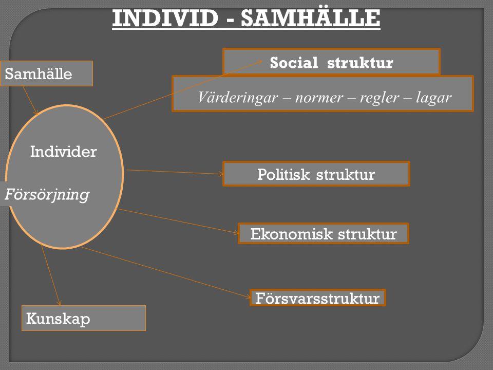 INDIVID - SAMHÄLLE Social struktur Samhälle