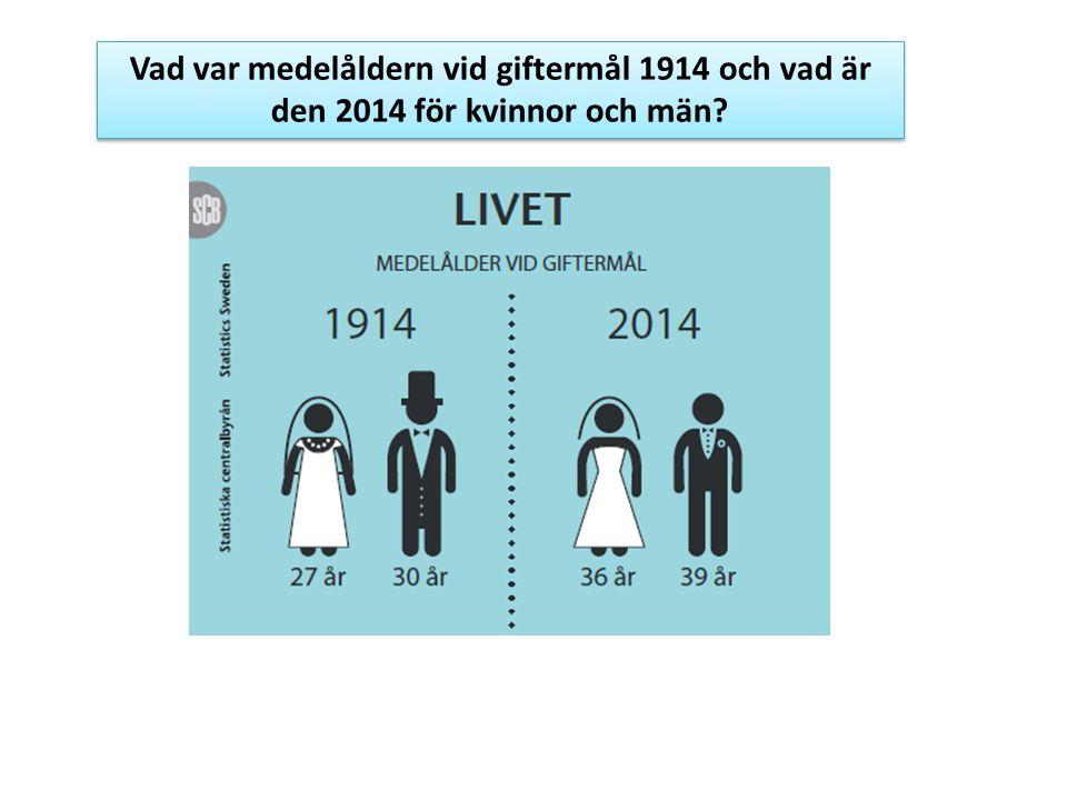 Vad var medelåldern vid giftermål 1914 och vad är den 2014 för kvinnor och män