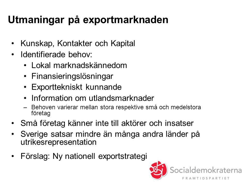 Utmaningar på exportmarknaden