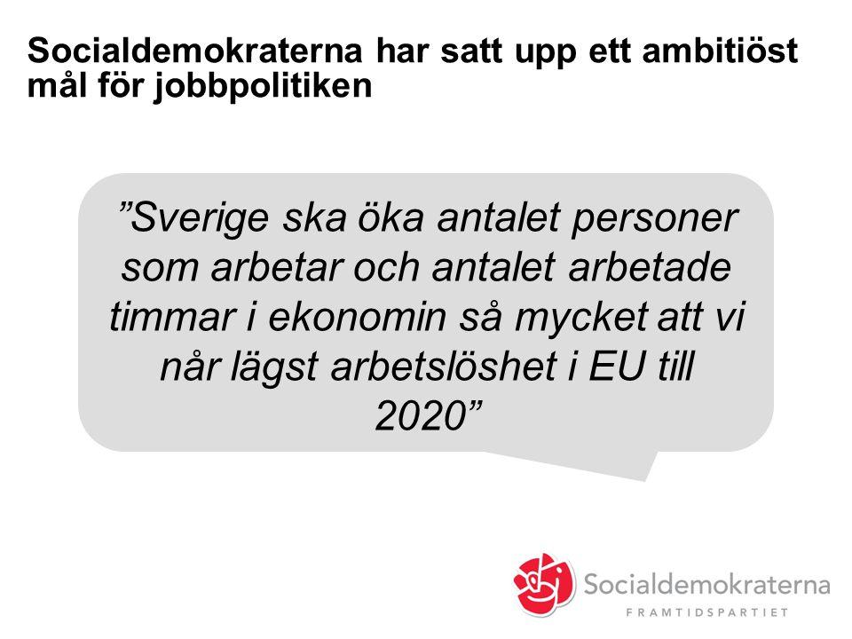 Socialdemokraterna har satt upp ett ambitiöst mål för jobbpolitiken