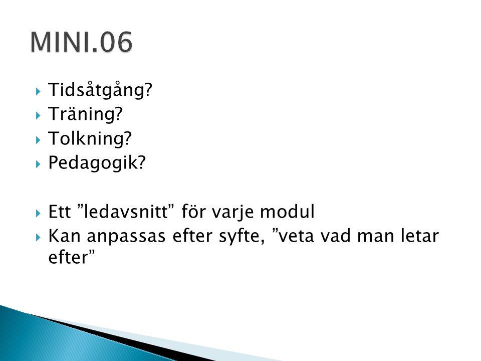 MINI.06 Tidsåtgång Träning Tolkning Pedagogik