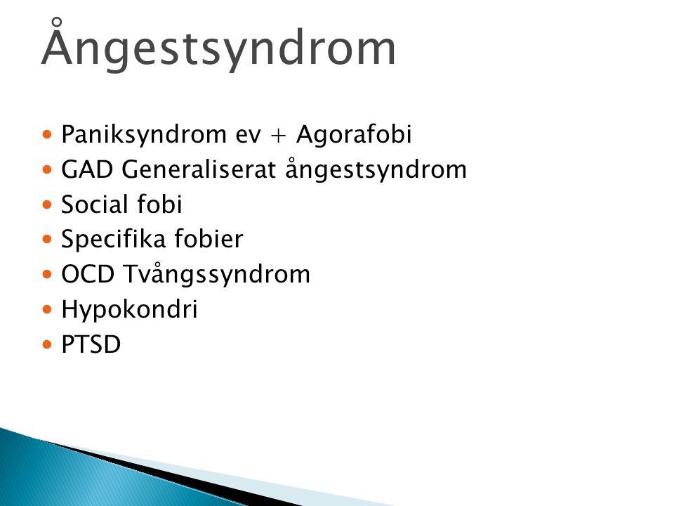 Ångestsyndrom Paniksyndrom ev + Agorafobi