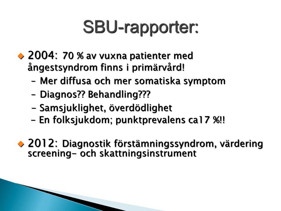 SBU-rapporter: 2004: 70 % av vuxna patienter med ångestsyndrom finns i primärvård! Mer diffusa och mer somatiska symptom.