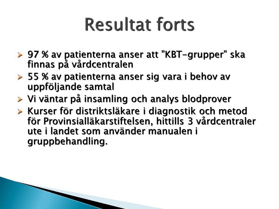 Resultat forts 97 % av patienterna anser att KBT-grupper ska finnas på vårdcentralen.