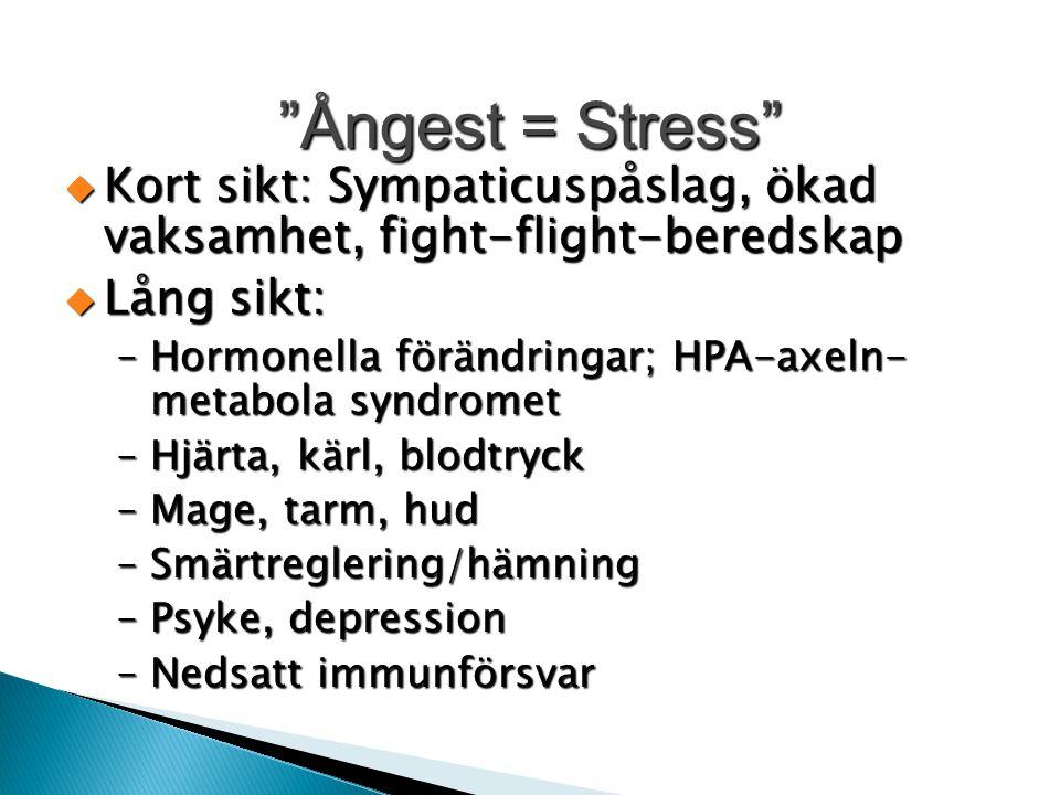 Ångest = Stress Kort sikt: Sympaticuspåslag, ökad vaksamhet, fight-flight-beredskap. Lång sikt: