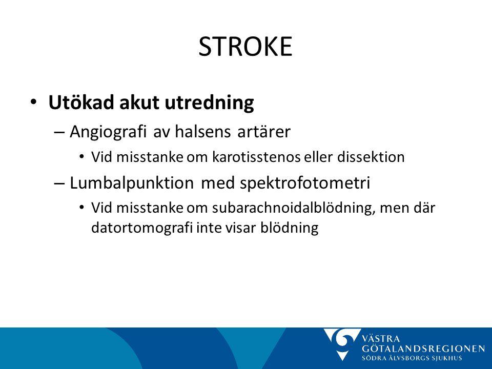 STROKE Utökad akut utredning Angiografi av halsens artärer
