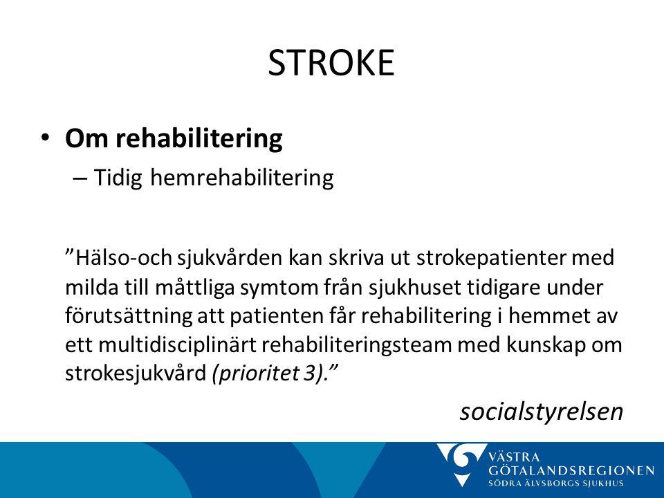 STROKE Om rehabilitering