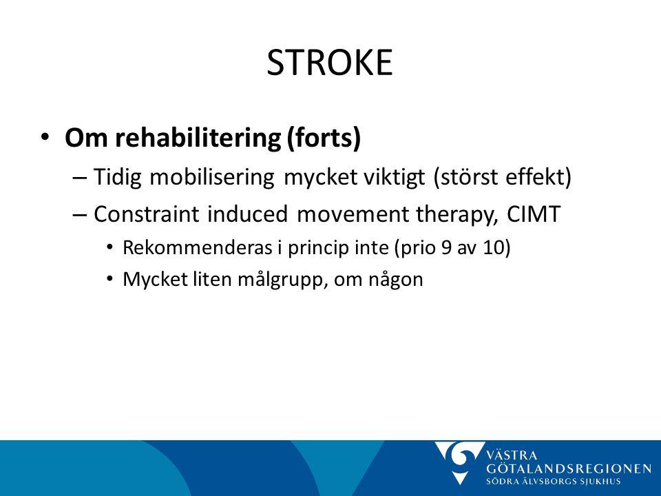 STROKE Om rehabilitering (forts)
