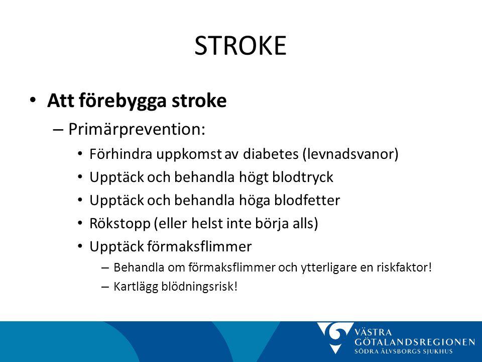 STROKE Att förebygga stroke Primärprevention: