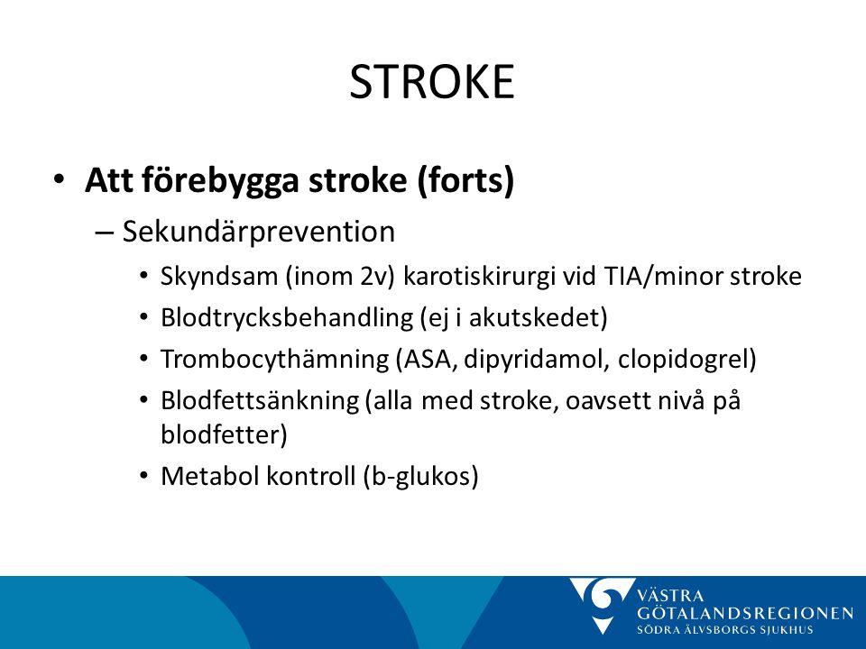 STROKE Att förebygga stroke (forts) Sekundärprevention