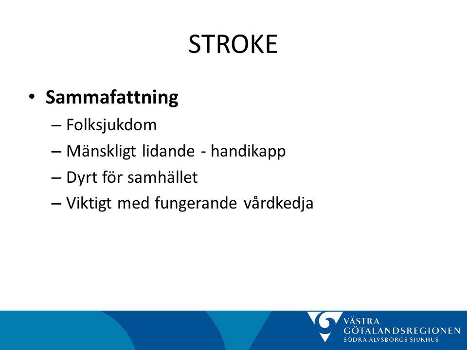 STROKE Sammafattning Folksjukdom Mänskligt lidande - handikapp