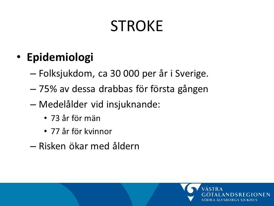 STROKE Epidemiologi Folksjukdom, ca 30 000 per år i Sverige.