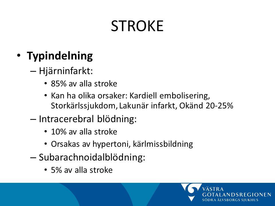 STROKE Typindelning Hjärninfarkt: Intracerebral blödning: