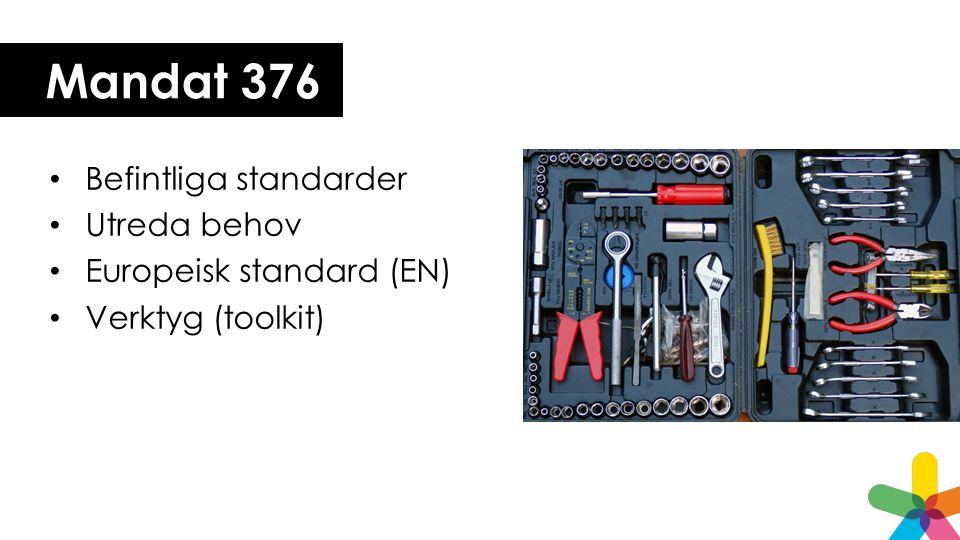 Mandat 376 Befintliga standarder Utreda behov Europeisk standard (EN)