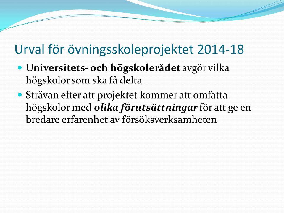 Urval för övningsskoleprojektet 2014-18