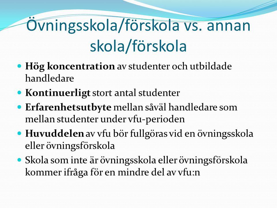 Övningsskola/förskola vs. annan skola/förskola