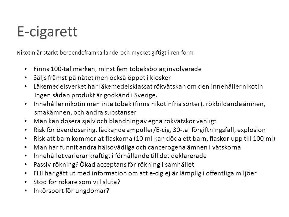 E-cigarett Finns 100-tal märken, minst fem tobaksbolag involverade