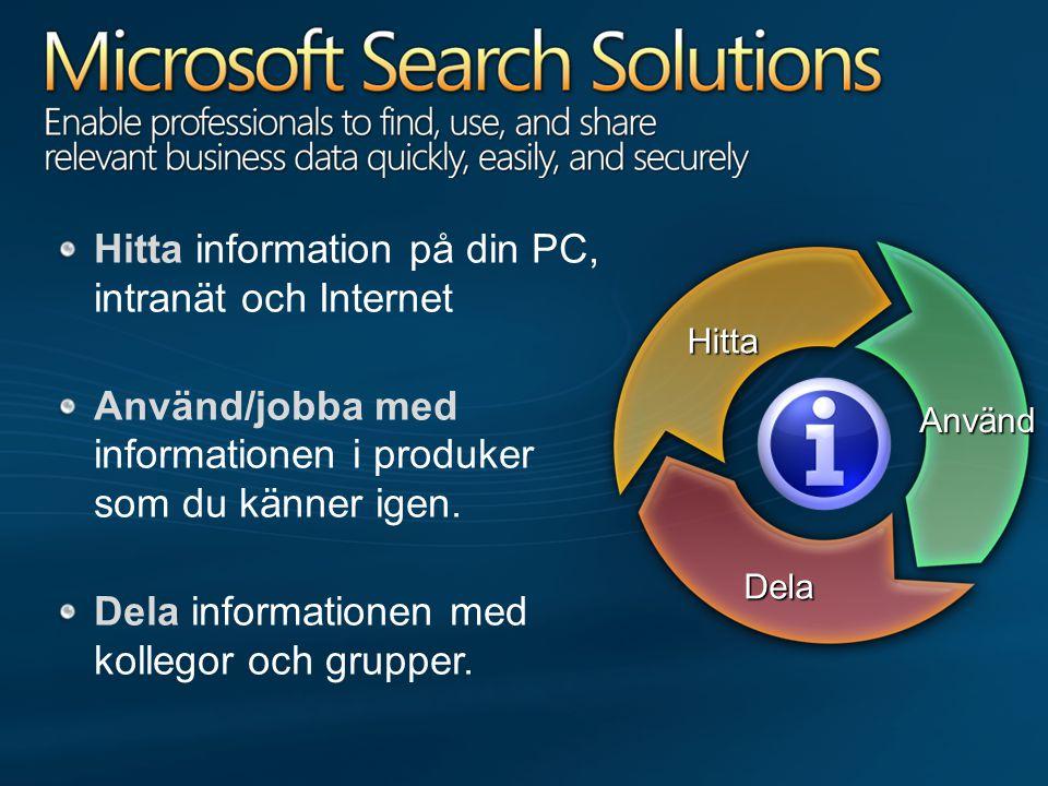 Hitta information på din PC, intranät och Internet