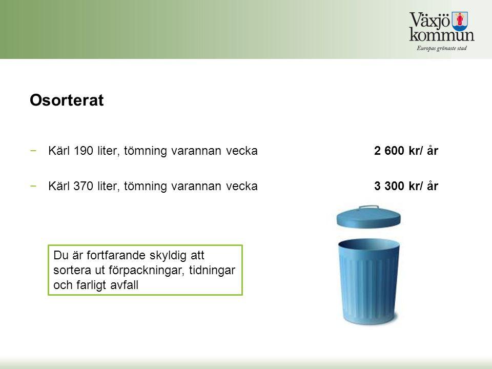 Osorterat Kärl 190 liter, tömning varannan vecka 2 600 kr/ år