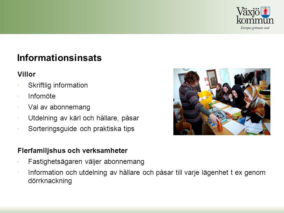 Informationsinsats Villor Skriftlig information Infomöte