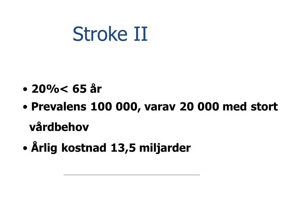 Stroke II 20%< 65 år Prevalens 100 000, varav 20 000 med stort
