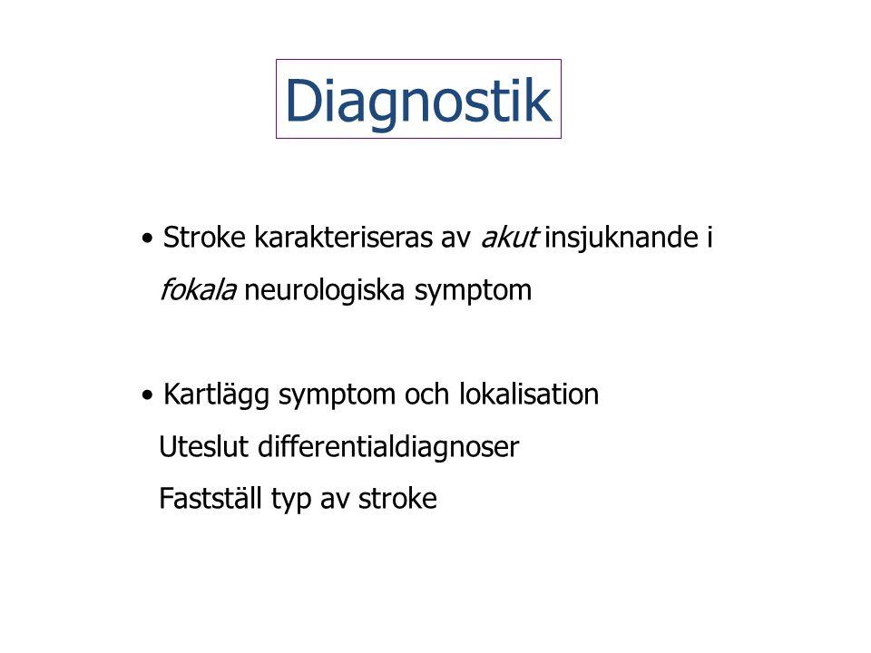 Diagnostik Stroke karakteriseras av akut insjuknande i