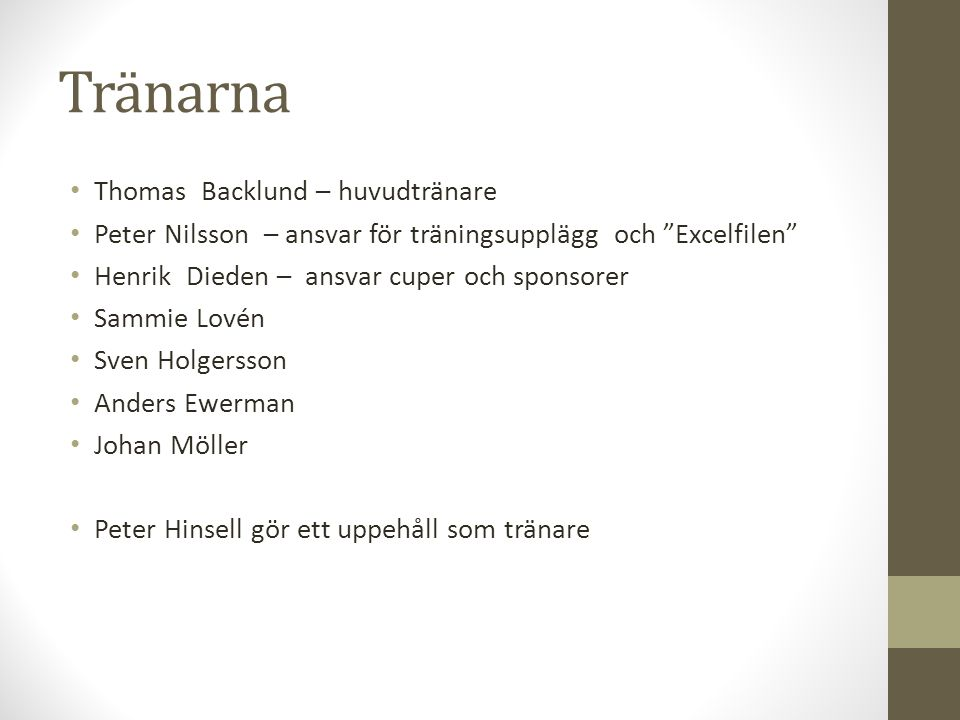 Tränarna Thomas Backlund – huvudtränare