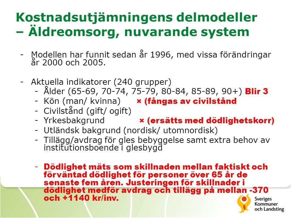Kostnadsutjämningens delmodeller – Äldreomsorg, nuvarande system