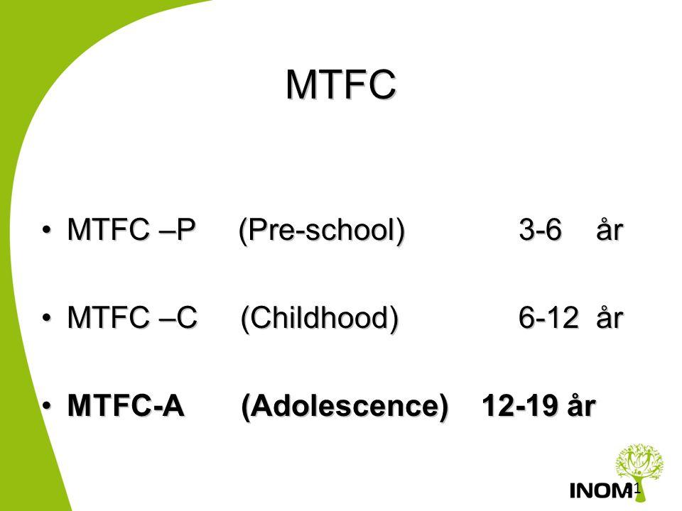 MTFC MTFC –P (Pre-school) 3-6 år MTFC –C (Childhood) 6-12 år