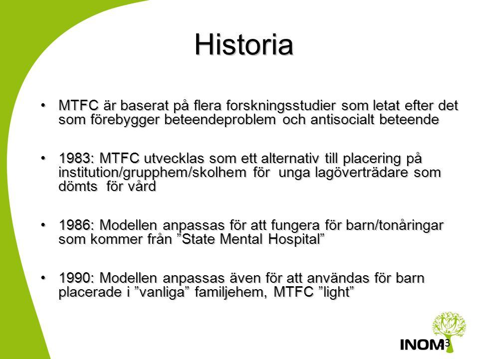 Historia MTFC är baserat på flera forskningsstudier som letat efter det som förebygger beteendeproblem och antisocialt beteende.