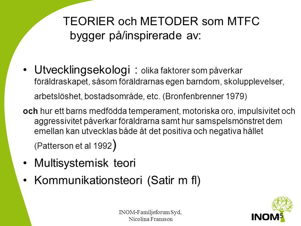 TEORIER och METODER som MTFC bygger på/inspirerade av: