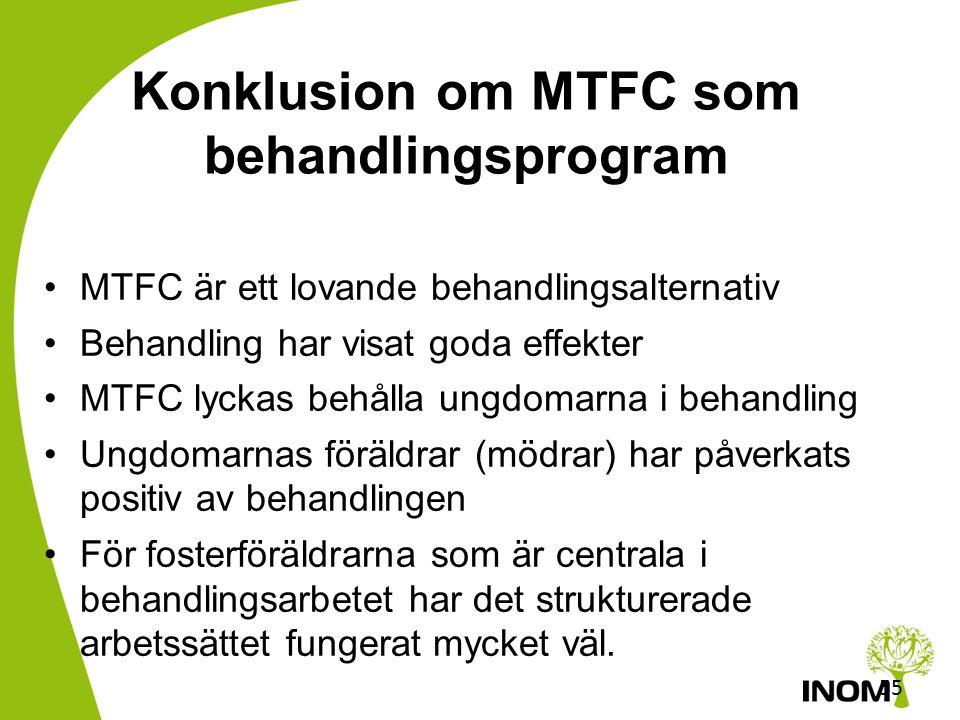 Konklusion om MTFC som behandlingsprogram
