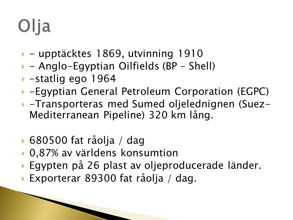 Olja - upptäcktes 1869, utvinning 1910
