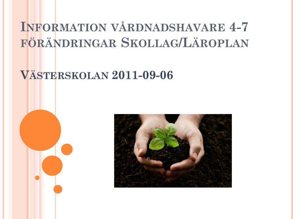 Information vårdnadshavare 4-7 förändringar Skollag/Läroplan Västerskolan 2011-09-06