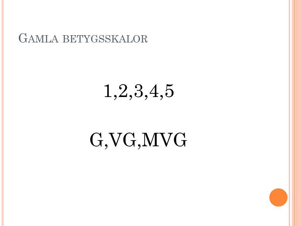 Gamla betygsskalor 1,2,3,4,5 G,VG,MVG