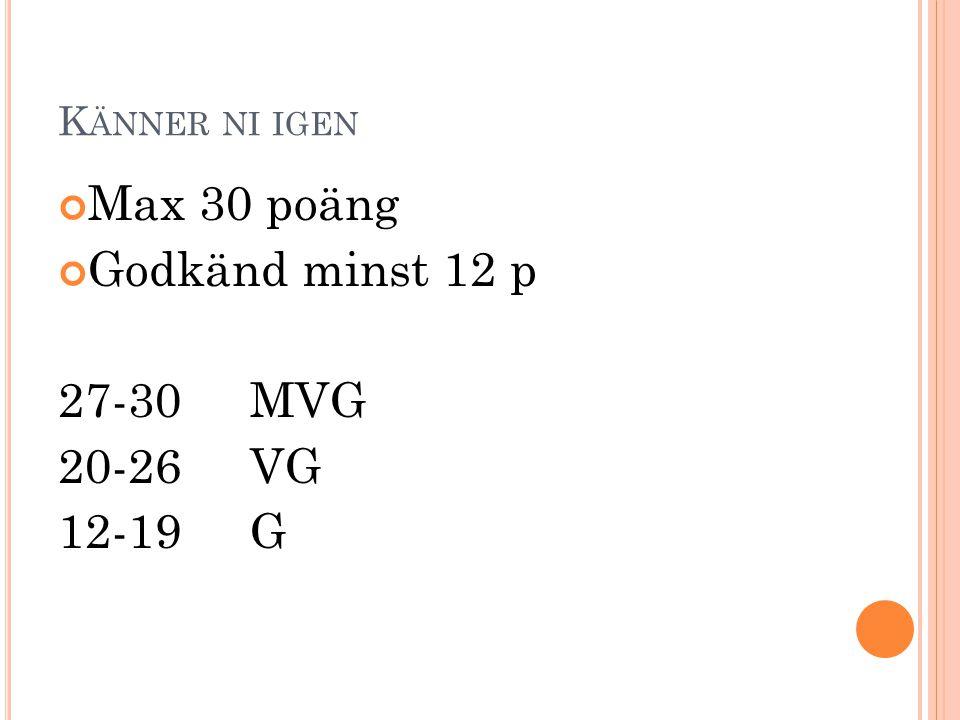 Max 30 poäng Godkänd minst 12 p 27-30 MVG 20-26 VG 12-19 G
