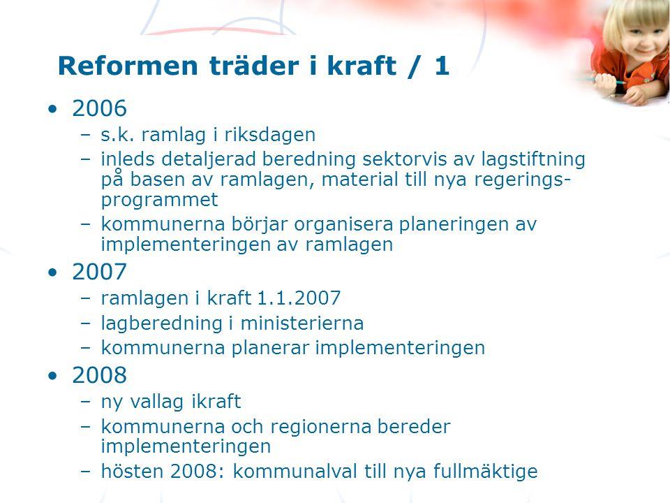 Reformen träder i kraft / 1
