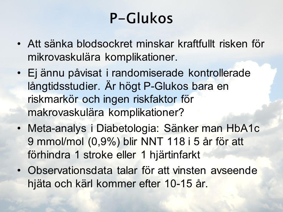 P-Glukos Att sänka blodsockret minskar kraftfullt risken för mikrovaskulära komplikationer.