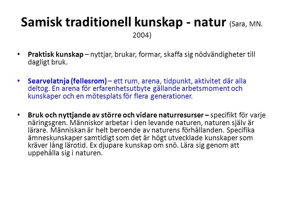 Samisk traditionell kunskap - natur (Sara, MN. 2004)