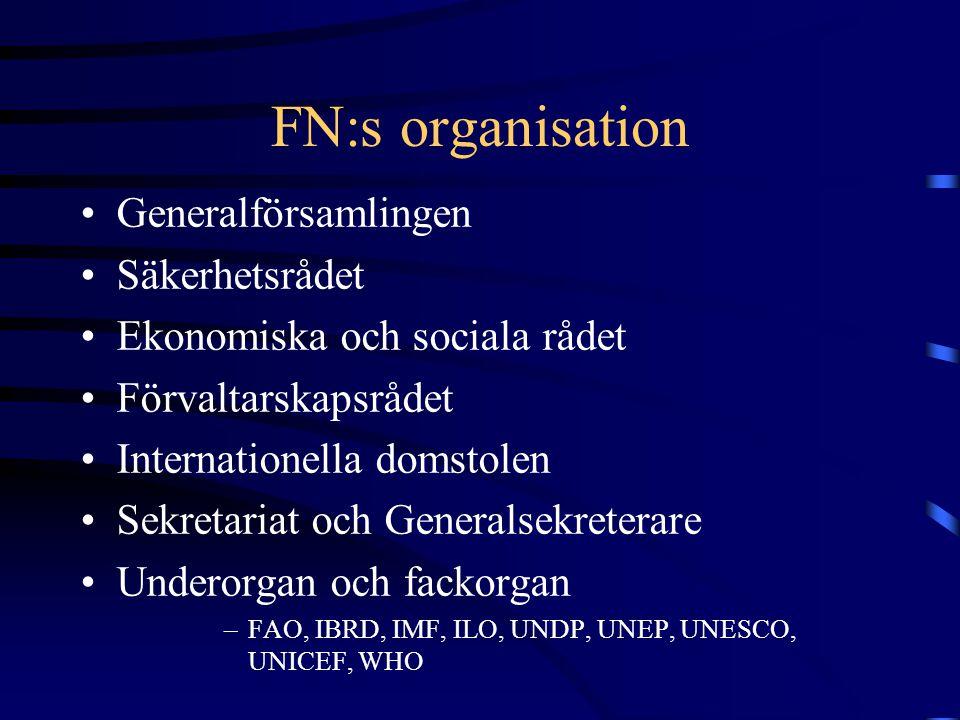 FN:s organisation Generalförsamlingen Säkerhetsrådet