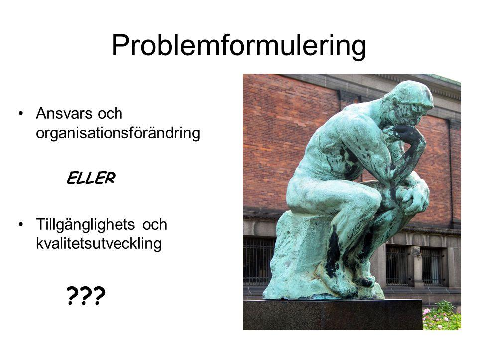 Problemformulering Ansvars och organisationsförändring ELLER